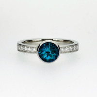 London Blue topaz solitaire engagement ring made from white gold, unique, milgrain, vintage style, topaz engagement, teal, custom engagement