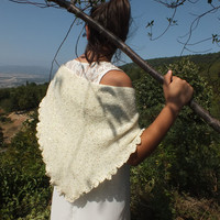 gold sequined cream-colored shawl  bolero, shawl, wedding accessories, bridal bolero, knitted cape