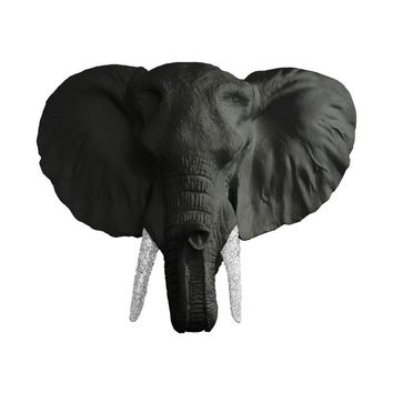 The Savannah | Large Elephant Head | Faux Taxidermy | Black + Silver Glitter Resin