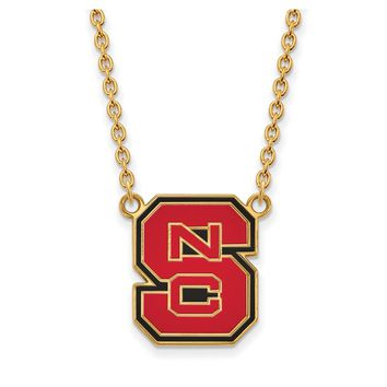 NCAA 14k Gold Plated Silver North Carolina Lg Enamel Pendant Necklace