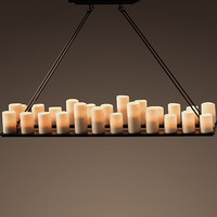Pillar Candle Rectangular Chandelier Large