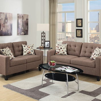 Poundex F6904 2 pc collette collection light coffee faux linen fabric upholstered sofa and love seat set