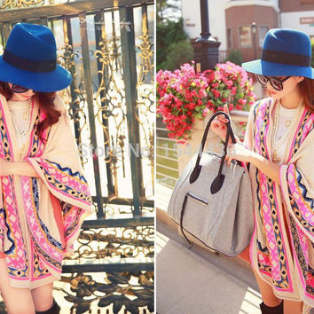 Hot Sale Women Vintage Open Front Poncho Shrug Eye Indian Cardigan Gypsy Hippie Boho Chic Sweater Free Shipping