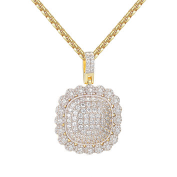 "Iced Out Custom Medallion Circle Solitaire 14kGold Finish Hip Hop Pendant with 24"" Box Chain"