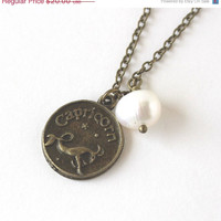 VALENTINES DAY SALE Capricorn astrology zodiac star sign charm and white pearl antique bronze necklace