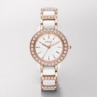 FOSSIL® Features A Touch Of Rose:Womens Jesse Ceramic Watch ? White with Rose CE1041