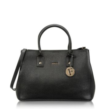 Furla Designer Handbags Linda Onyx Saffiano Leather Small Tote