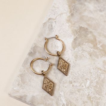 Hoop Earring with Charm, Gold