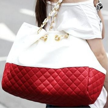 Quilted Leather Tote Handbag