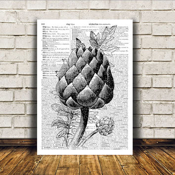 Artichoke poster Kitchen decor Antique art Retro print RTA403