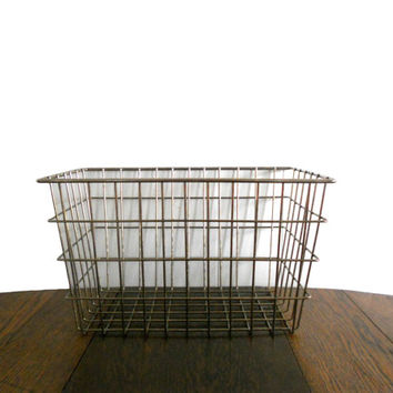 Vintage Industrial Wire Basket Large Rectangular - Mid Century Organizer Storage for Home or Office - Brass Metal