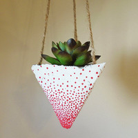 3 Hanging Concrete Succulent Pyramid Planters, Hand-Painted White with Red Dots, Jute Twine
