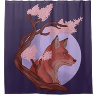 Sakura Fox Shower Curtain