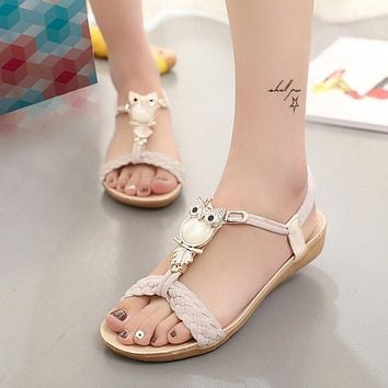 Women Sandals 2017  hot bohemia beaded owl wedge  sandals women flip flop summer style shoes woman shoes sandals