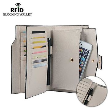 Befen Women's RFID Blocking Large Capacity Luxury Full Grain Genuine Leather Clutch Wallet Multi Card Organizer Holders