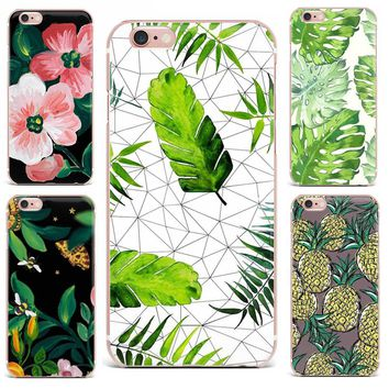 Case For Apple iPhone 7 Plus 7 6S 8 6 8 Plus X 4 5s Mobile Phone Shell Flowers Patterned Series Soft TPU Cute Tropical Plants