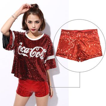 Hot Sales 2016 Women's Sequins Shorts Performance Costume Shorts Full Sequin Hot Mini Night Clubbing Club Dancer