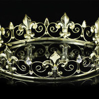 Men's Gold King Crown Imperial Medieval Fleur De Lis Full Circle Round T1747