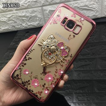 New Luxury Phone Cases Finger Ring Holder For Samsung S8 Plus S6 S7 edge Galaxy J3 J5 J7 2016 A5 A7 2017 Bling Flower TPU Cover