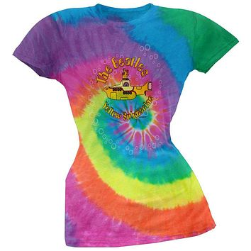 Beatles - Yellow Sub Spiral Juniors Tie Dye T-Shirt