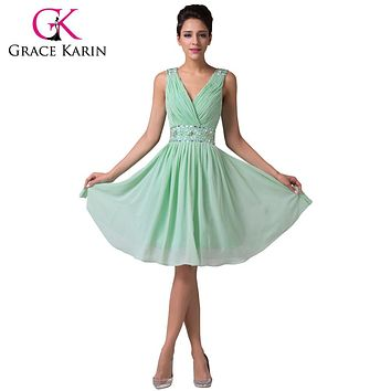 Grace Karin Charming Mint Green Bridesmaid Dresses Knee Length Chiffon Satin Beading Sequin Party Gowns Short Bridesmaid Dress