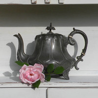 English vintage antique metal teapot, vintage kitchen, ornate teapot, design accent, steampunk, country home, shabby chic, rustic, teapot