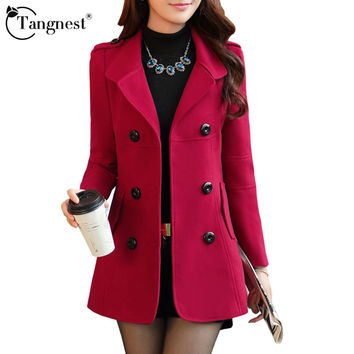 TANGNEST Women Winter Trench Coat 2016 New Arrival Casual Turn Down Collar Solid Color Elegant Slim Warm Coat WWN717
