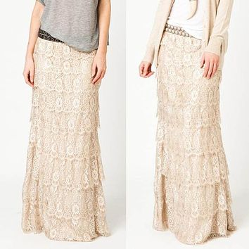 Hot Sale Women Lace Floral Pleated Skirts New Arrival Fashion Womens Lace Long Skirt ElasticPleated A-Line Boho Maxi Skirts
