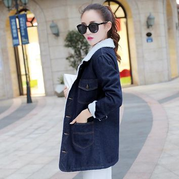 5XL Plus Size Faux Lamb Long Denim Trench Coat Women 2018 Autumn Winter Office Thick Warm Office Embroidery Lapel Loose Overcoat