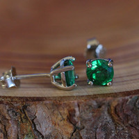 Genuine emerald stud earrings, in solid sterling silver - 3mm, 4mm, 5mm or 6mm sizes!