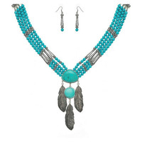 Turquoise beads feather necklace *ne5166-8*