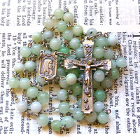 Our Lady of Lourdes Rosary - Catholic Rosary, Marian, Seafoam Quartz Beads, Blue Green