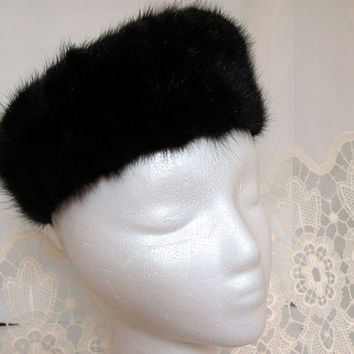 Ladies Mink Pillbox Hat / Brown Mink Pillbox Hat