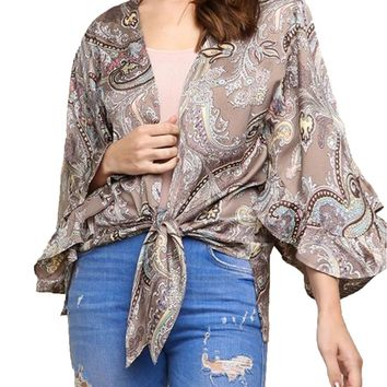 Umgee Multicolored Paisley Print Kimono Warm Grey Mix