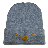 DEBANG Dan and Phil Cat Whiskers Logo Beanie Fashion Unisex Embroidery Beanies Skullies Knitted Hats Skull Caps - Grey