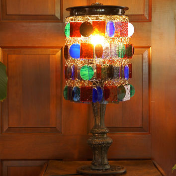 Kaleidoscope Visions Stained Art Glass Lamp, Table Lamp, Accent Light (One of a Kind)
