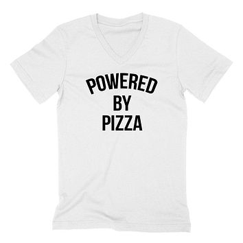 Powered by pizza, food lover, pizza lover, gift for him, for her  V Neck T Shirt