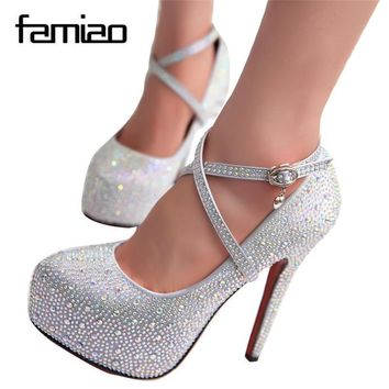 2016 women high heels prom wedding shoes lady crystal platforms silver Glitter rhinest