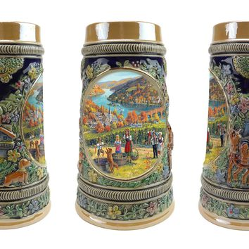 German Fall .5 Liter Embossed Ceramic Bier Stein