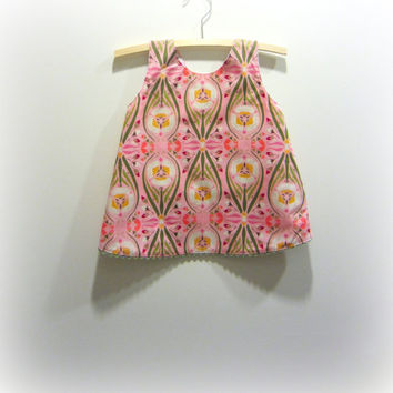 Pink and green pinny cross over back top by BananaOrangeApple