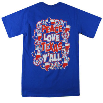 Bjaxx Peace Love and Texas Yall State Southern Girlie Bright T Shirt
