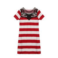 New Arrival 2016 Summer Sexy Women Lace Splice Striped Mini Dress Casual Short Sleeve O Neck Slim Fit Bodycon Dresses Vestidos