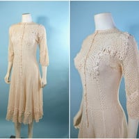 Vintage 30s Crochet Boho Maiden Midi Dress/Romantic Hand Made Boho Hippie Wedding Party Dress S