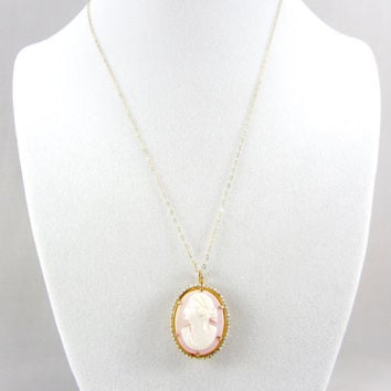 Antique Edwardian 10K Gold & Pearl Cameo Pendant Carved Pink Shell Cameo Convertible Brooch Necklace Fine Jewelry Signed George L. Paine Co.