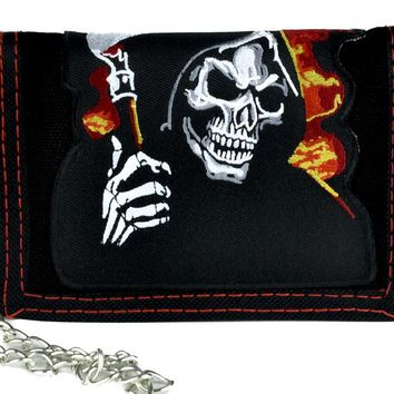 Burn ion Hell Fire Grim Reaper Tri-fold Wallet with Chain Alternative Clothing Death