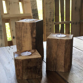 Three repurposed pallet wood candle holders. Candles included.