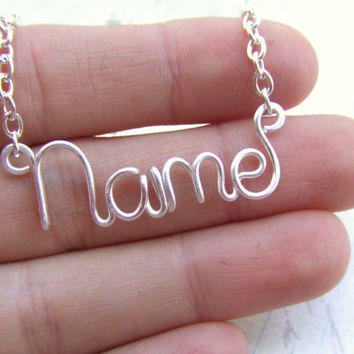 Personalized Necklace Silver Name Necklace Up to 8 Letters Word Necklace Word Jewelry Teen Jewelry  Wire Wrapped Jewelry Gifts Under 15