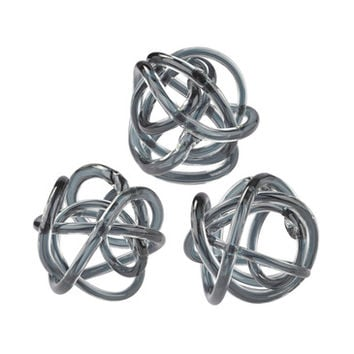 Lazy Susan Grey Glass Knot