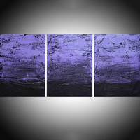 """ARTFINDER: large triptych 3 panel wall art impasto textured """" Purple Persausion """" 3 part piece three panel canvas wall abstract canvas pop abstraction 54 x 24 """" other sizes too by Stuart Wright - triptych abstract painting, 3 piece canvas art ..."""