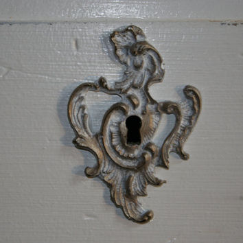Furniture Applique / French Provincial Key Lock / Chic furniture / Key Hole / shabby chic / romantic cottage / painted furniture